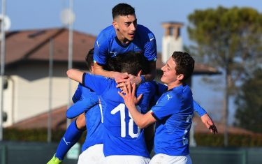 BRUGNERA, ITALY - FEBRUARY 12:  Nicolò Cudrig of Italy U17  celebrates after scoring the opening goal with team mates during the International Friendly match between Italy U17 and Serbia U17 at  on February 12, 2019 in Tamai di Brugnera, Italy.  (Photo by Alessandro Sabattini/Getty Images)