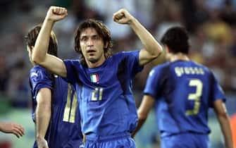© Marco Rosi \ LaPresse12-06-2006  Hannoversport - calcioCampionato del Mondo Germania 2006   Italia _ GhanaNella foto Andrea Pirlo esulta dopo la rete