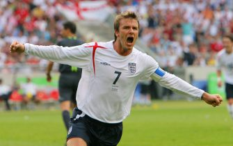 David Beckham of England celebrates after scoring the 1-0 lead during the 2nd round match of the 2006 FIFA World Cup between England and Ecuador in Stuttgart, Germany, 25 June 2006. 