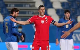 Poland's Robert Lewandowski reacts during the UEFA Nations League soccer match between Italy and Poland at Mapei Stadium in Reggio Emilia, Italy, 15 November 2020. ANSA /ELISABETTA BARACCHI
