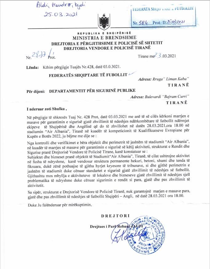 La lettera della Polizia di Tirana