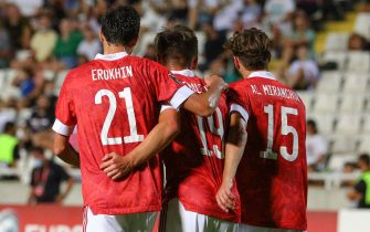 NICOSIA, CYPRUS - SEPTEMBER 4, 2021: Russia's Alexander Yerokhin, Arsen Zakharyan, and Alexei Miranchuk (L-R) in a 2022 FIFA World Cup Group H qualifying match against Cyprus at GSP Stadium. Stringer/TASS/Sipa USA