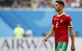 June 15, 2018 - St Petersburg, United Kingdom - Morocco''s Achraf Hakimi in action during the FIFA World Cup 2018 Group B match at the St Petersburg Stadium, St Petersburg. Picture date 15th June 2018. Picture credit should read: David Klein/Sportimage/Cal Sport Media/Sipa USA(Credit Image: © David Klein/CSM/Sipa USA)