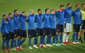 Florence, Italy - 02.09.2021: Italy team during anthem before European qualifiers EQ Qatar 2022  football match between ITALY VS BULGARIA at Artemio Franchi stadium in Rome on september 02th, 2021.
