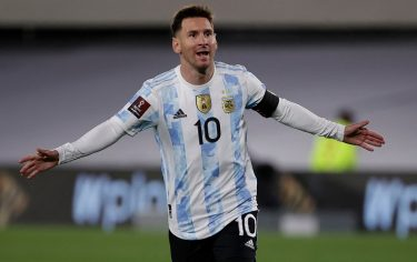 Argentina's Lionel Messi celebrates after scoring against Bolivia during the South American qualification football match for the FIFA World Cup Qatar 2022 at the Monumental Stadium in Buenos Aires on September 9, 2021. (Photo by Juan Ignacio RONCORONI / POOL / AFP) (Photo by JUAN IGNACIO RONCORONI/POOL/AFP via Getty Images)