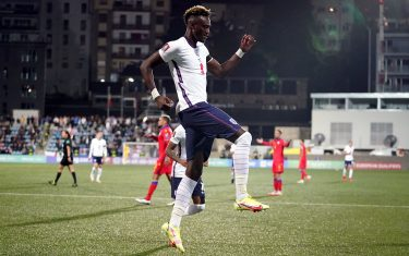 England's Tammy Abraham celebrates scoring their side's third goal of the game during the FIFA World Cup Qualifying match at Estadi Nacional, Andorra. Picture date: Saturday October 9, 2021.