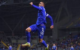 ASTANA, KAZAKHSTAN - OCTOBER 09: Smail Prevljak (9) of Bosnia and Herzegovina celebrates after scoring a goal during 2022 FIFA World Cup European Qualifiers Group D match between Kazakhstan vs Bosnia and Herzegovina at the Astana Arena in in Astana, Kazakhstan on October 09, 2021. (Photo by Turar Kazangapov/Anadolu Agency via Getty Images)