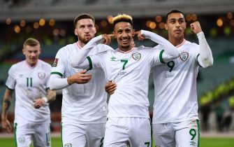 Baku , Azerbaijan - 9 October 2021; Callum Robinson of Republic of Ireland celebrates after scoring his side's second goal with team-mates Matt Doherty, left, and Adam Idah during the FIFA World Cup 2022 qualifying group A match between Azerbaijan and Republic of Ireland at the Olympic Stadium in Baku, Azerbaijan. (Photo By Stephen McCarthy/Sportsfile via Getty Images)