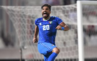 epa07996586 Yousef Sulaiman of Kuwait celebrates after scoring a goal during the Asian Qualifiers for the FIFA World Cup Qatar 2022 and AFC Asian Cup China 2023 Soccer match between Kuwait and Taiwan at Al kuwait club Stadium in kuwait city, kuwait, on 14 November 2019.  EPA/Noufal Ibrahim