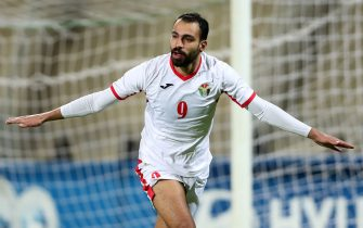 Jordan's forward Bahaa Faisal celebrates after scoring during the FIFA World Cup 2022 andthe 2023 AFC Asian Cupqualifying football match between Jordan and Chinese Taipei Amman International Stadium in the Jordanian capital onNovember 19, 2019. (Photo by Ahmad ALAMEEN / AFP) (Photo by AHMAD ALAMEEN/AFP via Getty Images)