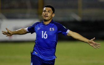 epa09256497 David Rugamas of El Salvador celebrates after scoring during the Central American Qualifying soccer match for the Qatar 2022 World Cup between El Salvador and Antigua and Barbuda at Cuscatlan stadium in San Salvador, El Salvador, 08 June 2021.  EPA/MIGUEL LEMUS