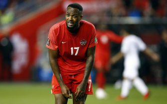 TORONTO, ON - SEPTEMBER 02:  Cyle Larin #17 of Canada reacts to a missed shot on goal by teammate Richie Laryea #22 during a 2022 World Cup Qualifying match against Honduras at BMO Field on September 2, 2021 in Toronto, Ontario, Canada.  (Photo by Vaughn Ridley/Getty Images)