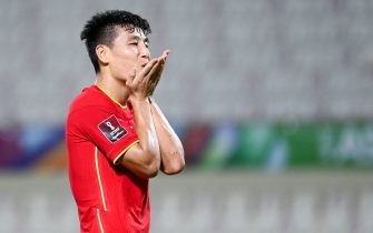 (211008) -- SHARJAH, Oct. 8, 2021 (Xinhua) -- Wu Lei of China celebrates scoring during the FIFA World Cup Qatar 2022 Asian qualification football match between China and Vietnam in Sharjah, the United Arab Emirates, Oct. 7, 2021. (Xinhua) - Su Xiaopo -//CHINENOUVELLE_1.1656/2110080624/Credit:CHINE NOUVELLE/SIPA/2110080822