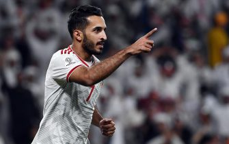 epa07319217 Ali Mabkhout of UAE celebrates 1-0 goal during the 2019 AFC Asian Cup quarter final match between Australia and UAE in Al Ain, United Arab Emirates, 25 January 2019.  EPA/MAHMOUD KHALED
