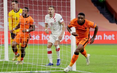 AMSTERDAM, NETHERLANDS - SEPTEMBER 4: Steven Bergwijn of Holland celebrates 1-0 during the  UEFA Nations league match between Holland  v Poland  at the Johan Cruijff ArenA on September 4, 2020 in Amsterdam Netherlands (Photo by Eric Verhoeven/Soccrates/Getty Images)
