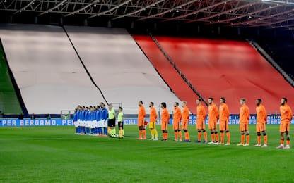 Italia-Olanda, l'omaggio alle vittime di Bergamo
