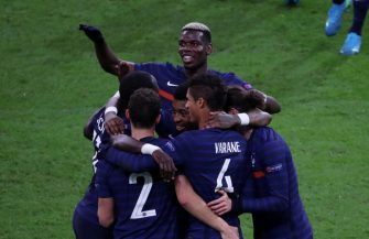 PARIS, FRANCE-NOVEMBER 17: Benjamin Pavard #2 of France celebrates his goal with Paul Pogba (face) and team-mattes during the UEFA Nations League group stage match between France and Sweden at Stade de France on November 17, 2020 in Paris, France. (Photo by Xavier Laine/Getty Images)
