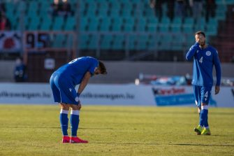 LUXEMBOURG, LUXEMBOURG - OCTOBER 10: (BILD ZEITUNG OUT) Thomas Ioannou of Cyprus and Chambos Jyriakou of Cyprus look dejected during the UEFA Nations League group stage match between Luxembourg and Cyprus at Stade Josy Barthel on October 10, 2020 in Luxembourg, Luxembourg. (Photo by Jef Matthee/DeFodi Images via Getty Images)