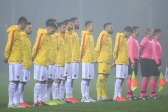 ZAPRESIC, CROATIA - NOVEMBER 14: Players of Montenegro sing their national anthem prior to the UEFA Nations League group stage match between Azerbaijan and Montenegro at Ivan Laljak-Ivic Stadium  on November 14, 2020 in Zapresic, Croatia. (Photo by Goran StanzlPixsell/MB Media/Getty Images)