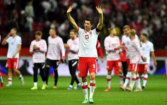 epa09456373 Poland's Robert Lewandowski after the FIFA World Cup 2022 qualifying group I soccer match between Poland and England at PGE Narodowy stadium in Warsaw, Poland, 08 September 2021.  EPA/Piotr Nowak POLAND OUT