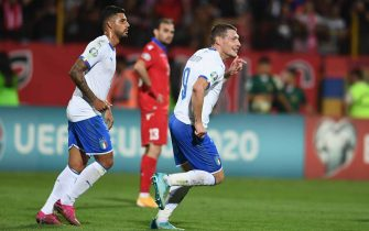 YEREVAN, ARMENIA - SEPTEMBER 05: Andrea Belotti of Italy celebrates after scoring the goal during the UEFA Euro 2020 qualifier between Armenia and Italy at Republican Stadium after Vazgen Sargsyan on September 5, 2019 in Yerevan, Armenia. (Photo by Claudio Villa/Getty Images)
