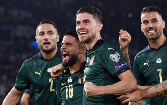 ROME, ITALY - OCTOBER 12:  Jorginho of Italy celebrates after scoring the opening goal during the UEFA Euro 2020 qualifier between Italy and Greece on October 12, 2019 in Rome, Italy.  (Photo by Alessandro Sabattini/Getty Images )