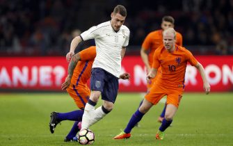 (L-R) Memphis Depay of Holland, Andrea Belotti of Italy, Wesley Hoedt of Holland, Davy Klaassen of Hollandduring the friendly match between Netherlands and Italy at the Amsterdam Arena on March 28, 2017 in Amsterdam, The Netherlands(Photo by VI Images via Getty Images)