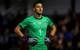 BLACKPOOL, ENGLAND - OCTOBER 11: Michele Cerofolini of Italy U20 during the Under 20 International Friendly match between England and Italy at Mill Farm on October 11, 2018 in Blackpool, England. (Photo by Robbie Jay Barratt - AMA/Getty Images)
