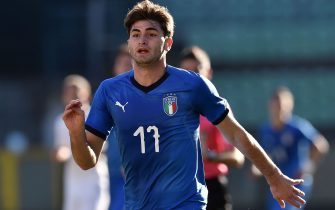 SIENA, ITALY - FEBRUARY 13:  Manolo Portanova of Italy in action during the International Friendly match between Italy U19 and France U19 at Stadio Artemio Franchi on February 13, 2019 in Tamai di Siena, Italy.  (Photo by Giuseppe Bellini/Getty Images)