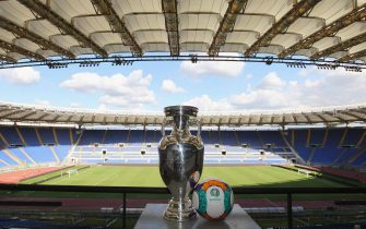 ROME, ITALY - SEPTEMBER 22:  A general view of UEFA Euro Trophy in the Stadio Olimpico during the UEFA Euro Roma 2020 Official Logo unveiling at Palazzo delle Armi on September 22, 2016 in Rome, Italy.  (Photo by Paolo Bruno/Getty Images)
