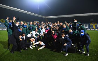 ZENICA, BOSNIA AND HERZEGOVINA - NOVEMBER 18:  Players of Italy celebrate at the end of the UEFA Nations League group stage match between Bosnia-Herzegovina and Italy at Bilino Polje Stadium on November 18, 2020 in Zenica, Bosnia and Herzegovina.  (Photo by Claudio Villa/Getty Images)