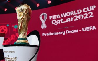 epa08868644 A handout photo made available by FIFA of the World Cup Trophy during the European qualifying draw for the FIFA World Cup Qatar 2022 in Zurich, Switzerland, 07 December 2020.  EPA/Kurt Schorrer / HANDOUT  HANDOUT EDITORIAL USE ONLY/NO SALES