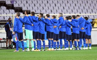 Italy's team players during national anthem before the UEFA Nations League soccer match between Italy and Bosnia-Herzegovina at the Artemio Franchi stadium in Florence, Italy, 4 September 2020ANSA/CLAUDIO GIOVANNINI
