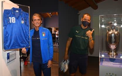 Mancini e Bonucci in visita al Museo di Coverciano
