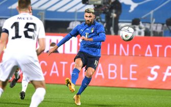 Italy's forward Vincenzo Grifo scores during the friendly match between Italy and Estonia at the Artemio Franchi stadium in Florence, Italy, 11 November 2020ANSA/CLAUDIO GIOVANNINI