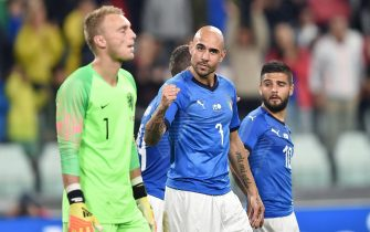 Italy's Simone Zaza jubilates after scoring the goal of 1-0 during the International Friendly soccer match between  Italy and Netherlands at Allianz Stadium in Turin, 4 June 2018. ANSA/ ALESSANDRO DI MARCO