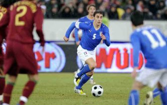 "ZURICH, SWITZERLAND - FEBRUARY 06, 2008: Fabio Cannavaro of Italy in action the friendly match between Italy and Portugal at the ""Letzigrund"" stadium on February 06 in Zurich, Switzerland"