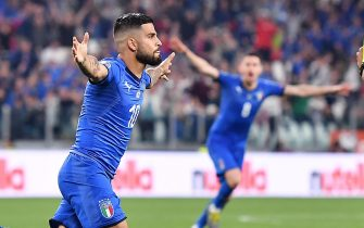 Italy's Lorenzo Insigne jubilates after scoring the goal  during the Euro 2020 Group J qualifying soccer match Italy vs Bosnia & Herzegovina at the Allianz Stadium in Turin, Italy, 11 June 2019.