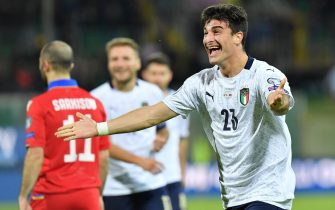 Italy's Riccardo Orsolini celebrates after scoring the 8-1 goal during the UEFA Euro 2020 group J qualifying soccer match between Italy and Armenia at the Renzo Barbera stadium in Palermo, Italy, 18 November 2019. 