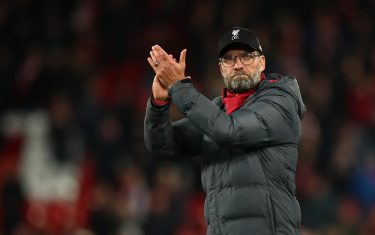 LIVERPOOL, ENGLAND - DECEMBER 04: Jurgen Klopp the head coach / manager of Liverpool celebrates winning the Premier League match between Liverpool FC and Everton FC at Anfield on December 4, 2019 in Liverpool, United Kingdom. (Photo by Robbie Jay Barratt - AMA/Getty Images)