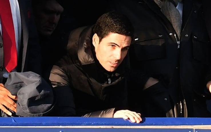 Sugli spalti di Goodison Park anche Mikel Arteta, nuovo allenatore dell'Arsenal