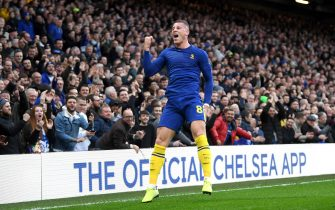 LONDON, ENGLAND - JANUARY 05: Ross Barkley of Chelsea celebrates after scoring his team's second goal during the FA Cup Third Round match between Chelsea and Nottingham Forest at Stamford Bridge on January 05, 2020 in London, England. (Photo by Mike Hewitt/Getty Images)