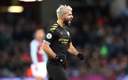 City, 6-1 all'Aston Villa: Aguero da record