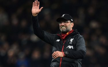 Liverpool's German manager Jurgen Klopp waves at the end of the English Premier League football match between Tottenham Hotspur and Liverpool at Tottenham Hotspur Stadium in London, on January 11, 2020. (Photo by Glyn KIRK / AFP) / RESTRICTED TO EDITORIAL USE. No use with unauthorized audio, video, data, fixture lists, club/league logos or 'live' services. Online in-match use limited to 120 images. An additional 40 images may be used in extra time. No video emulation. Social media in-match use limited to 120 images. An additional 40 images may be used in extra time. No use in betting publications, games or single club/league/player publications. /  (Photo by GLYN KIRK/AFP via Getty Images)