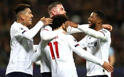 Liverpool no stop: 0-2 al West Ham, +19 sul City