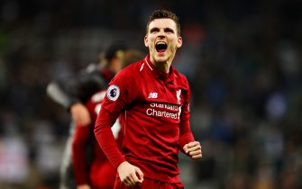 NEWCASTLE UPON TYNE, ENGLAND - MAY 04: Andrew Robertson of Liverpool celebrates after the Premier League match between Newcastle United and Liverpool FC at St. James Park on May 04, 2019 in Newcastle upon Tyne, United Kingdom. (Photo by Chris Brunskill/Fantasista/Getty Images)