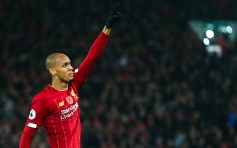 LIVERPOOL, ENGLAND - NOVEMBER 10: Fabinho of Liverpool celebrates after scoring a goal to make it 1-0 during the Premier League match between Liverpool FC and Manchester City at Anfield on November 10, 2019 in Liverpool, United Kingdom. (Photo by Robbie Jay Barratt - AMA/Getty Images)
