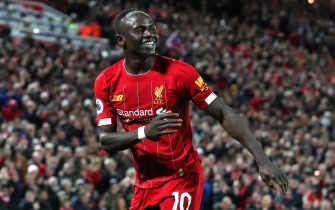 LIVERPOOL, ENGLAND - JANUARY 02:  Sadio Mane of Liverpool celebrates after scoring their second goal during the Premier League match between Liverpool FC and Sheffield United at Anfield on January 02, 2020 in Liverpool, United Kingdom. (Photo by Alex Livesey - Danehouse/Getty Images)