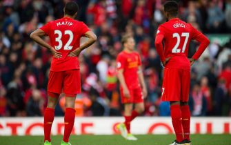 epa05924154 Liverpools Divock Origi (R) and Joel Matip react after the English Premier League soccer match between Liverpool and Crystal Palace at Anfield, Liverpool, Britain, 23 April 2017.  EPA/PETER POWELL EDITORIAL USE ONLY. No use with unauthorized audio, video, data, fixture lists, club/league logos or 'live' services. Online in-match use limited to 75 images, no video emulation. No use in betting, games or single club/league/player publications EPA/PETER