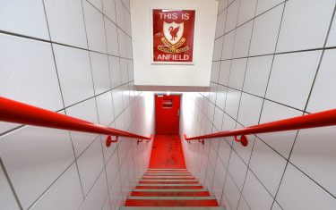 LIVERPOOL, ENGLAND - DECEMBER 13:   General view of the Liverpool club badge in the players tunnel before the Barclays Premier League match between Liverpool and West Bromwich Albion at Anfield on December 13, 2015 in Liverpool, England.  (Photo by Adam Fradgley - AMA/WBA FC via Getty Images)